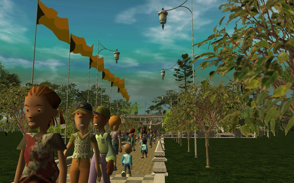 My Projects - CSO's I Have Imported, Decking, Stairs, and Balustrades Set - Screenshot of Guests Leaving Demo Park With Display of Flags in Background, Image 23