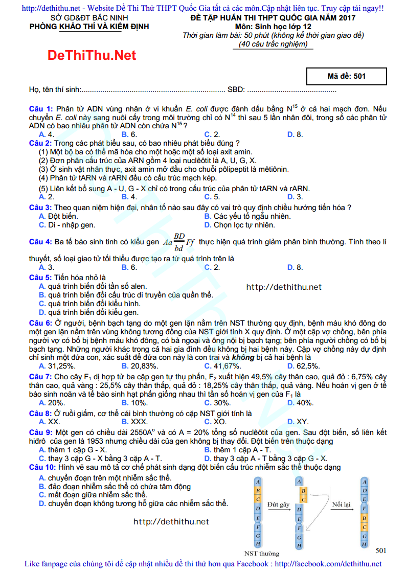 De thi thu mon Sinh Hoc 2017 so GD & DT Bac Ninh trang 1