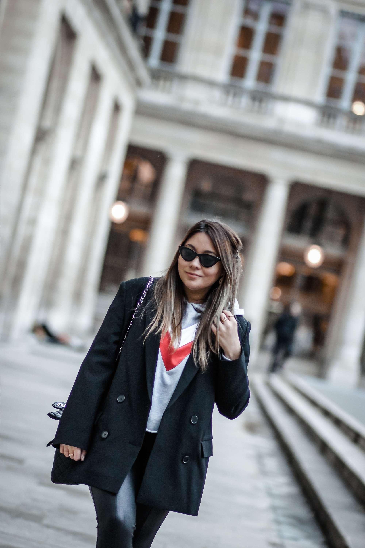 blogueuse mode, the green ananas, blog mode, blazer, and other stories, h&m, lunettes oeil de chat, blazer oversize, jennyfer, sweat chevron, pantalon simili, oversize blazer