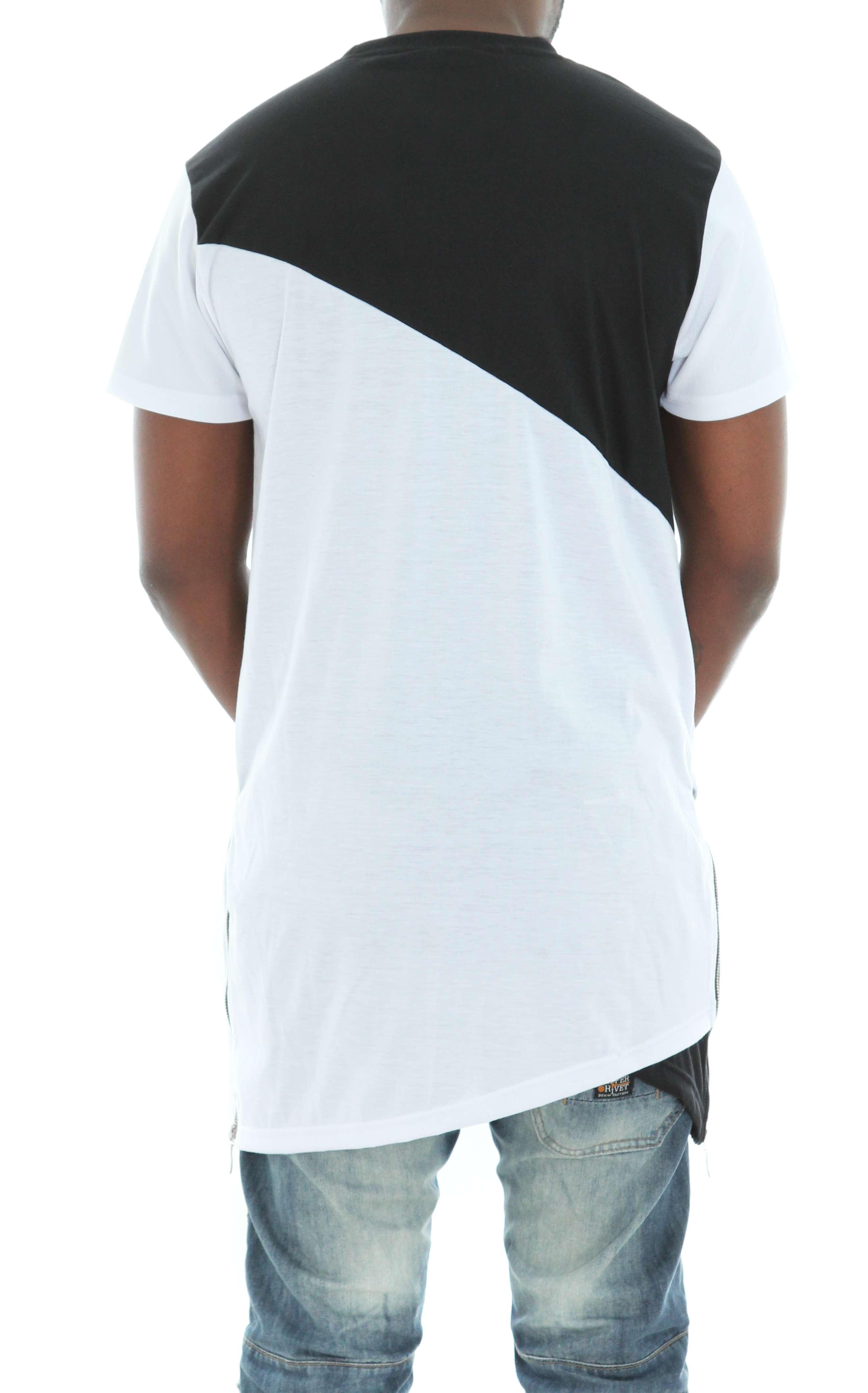 Imperious-Men-039-s-Colorblock-Asymmetric-Hem-Side-Zipper-Longline-T-Shirt thumbnail 16