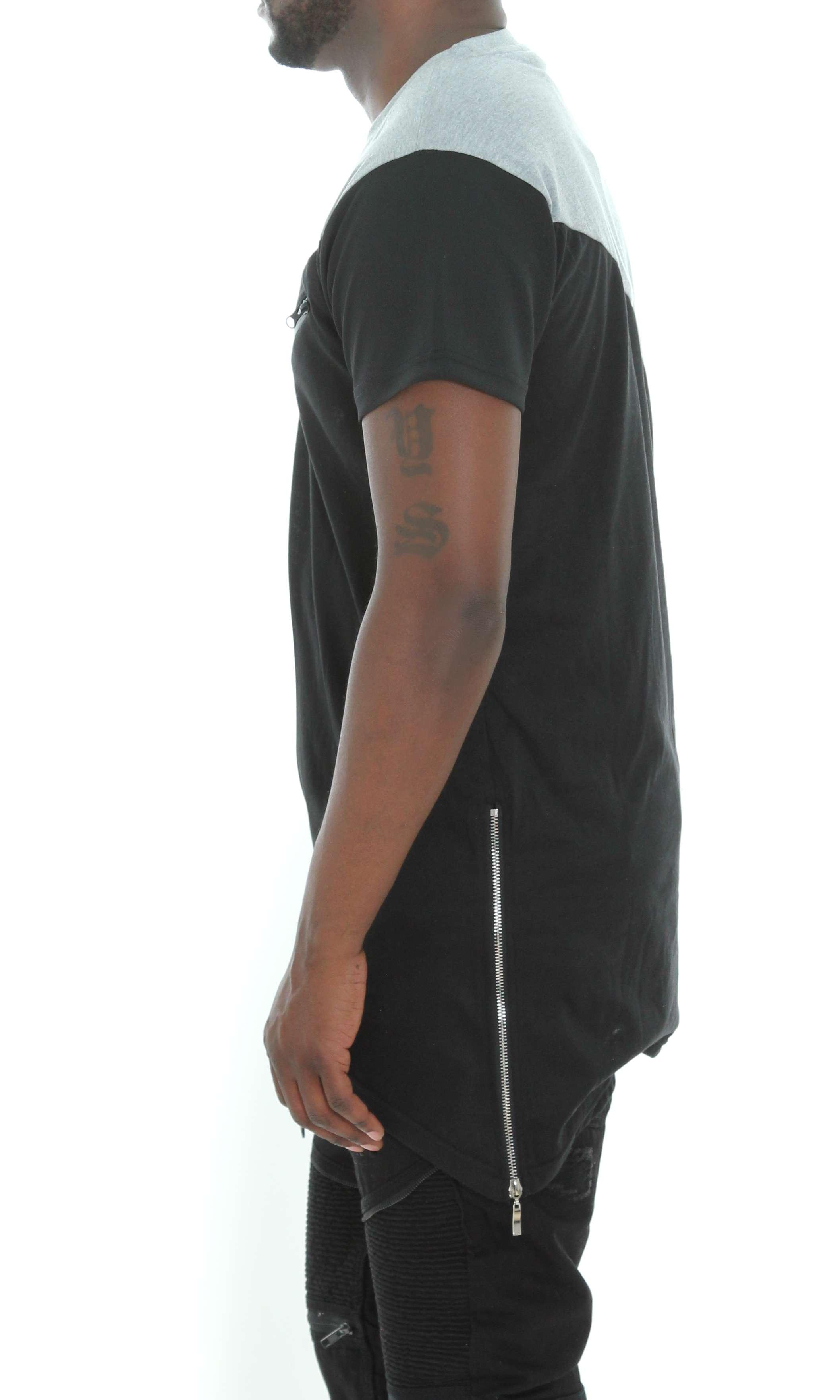 Imperious-Men-039-s-Colorblock-Asymmetric-Hem-Side-Zipper-Longline-T-Shirt thumbnail 7