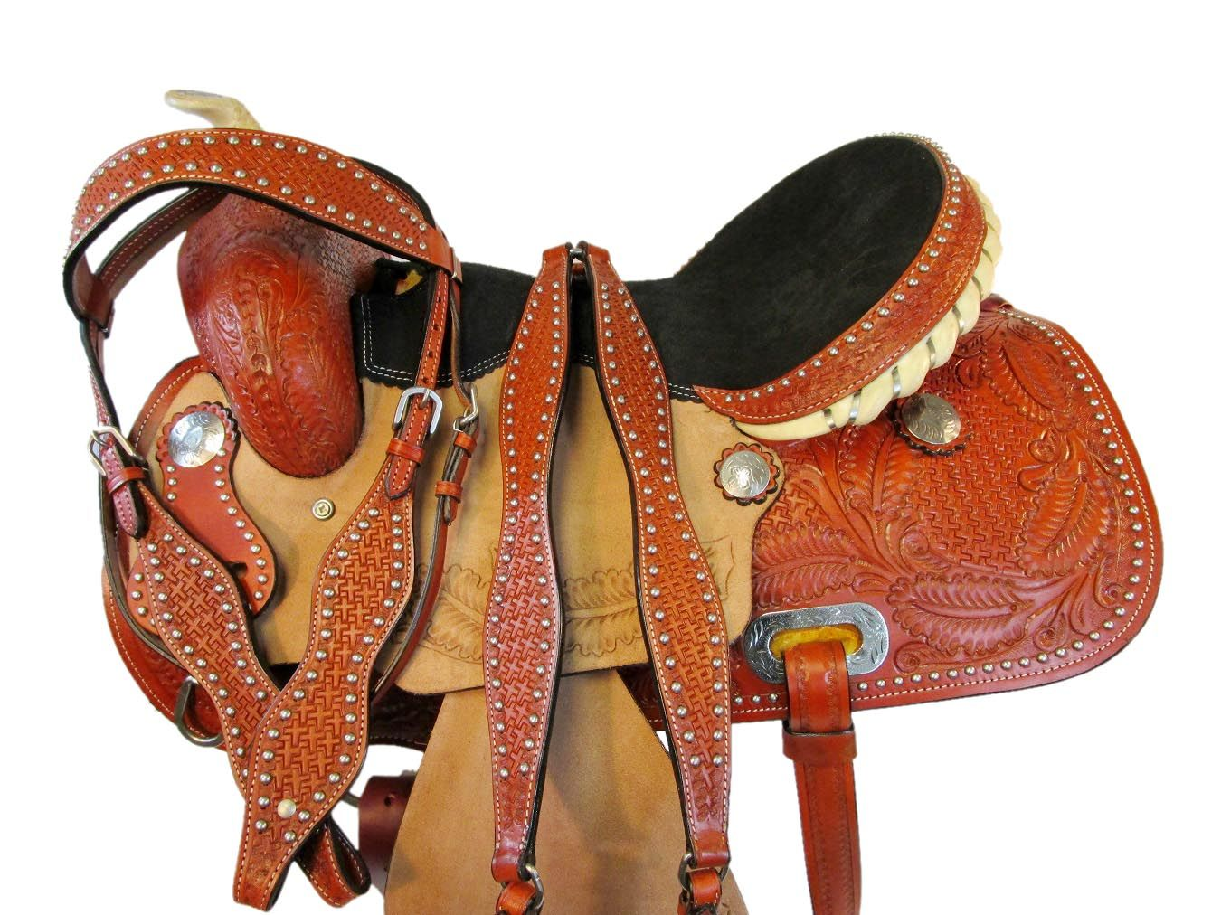 WESTERN BREAST COLLAR BARREL RACING PLEASURE SHOW TOOLED PADDED LEATHER HORSE