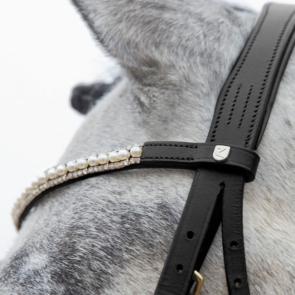 Horze-Trajan-Leather-Snaffle-Flash-Bridle-with-Narrow-Browband-and-Reins miniature 14