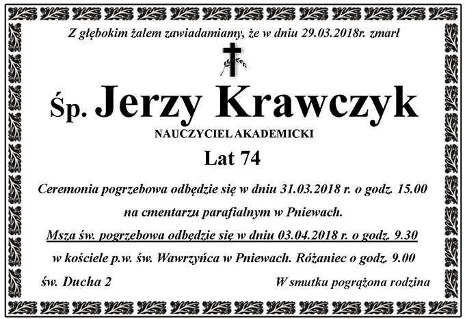 Żyli wśród nas – Jerzy Krawczyk