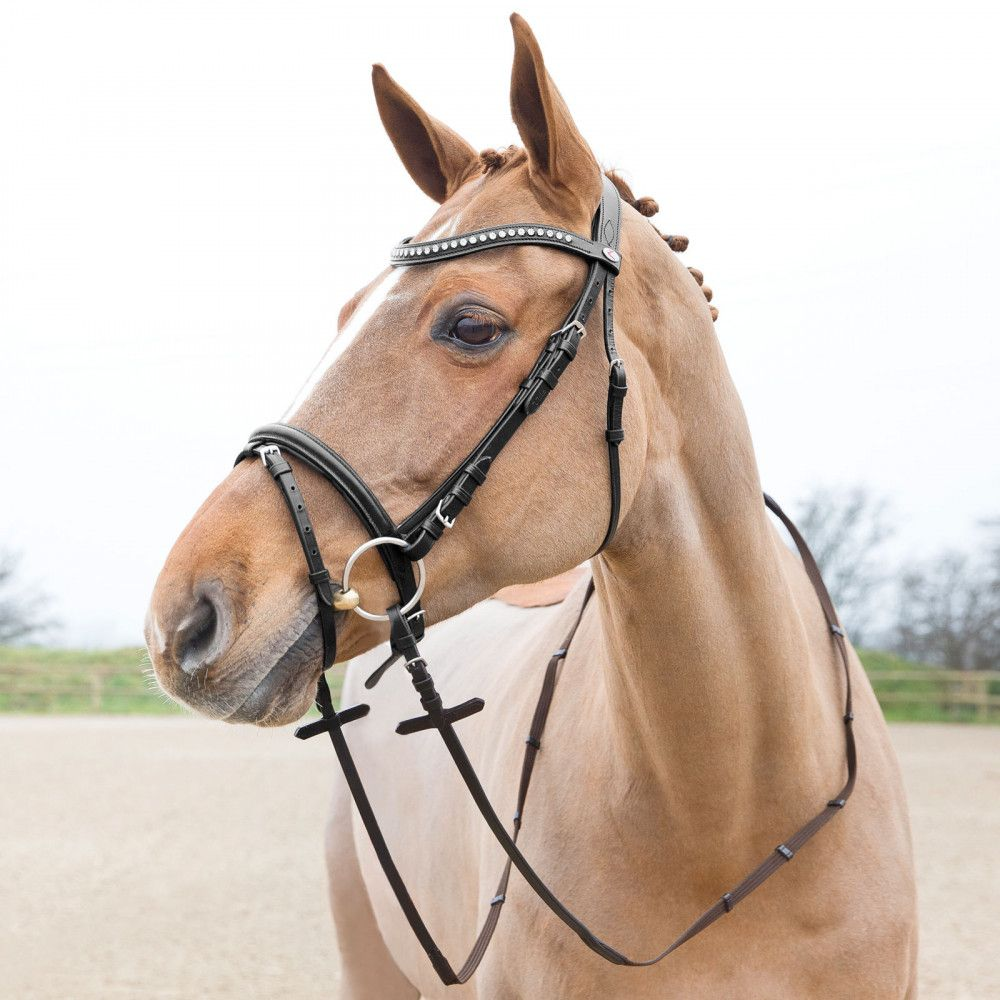 Horze-Athena-Leather-Snaffle-Bridle-with-Curved-Browband-and-Detachable-Flash miniature 10