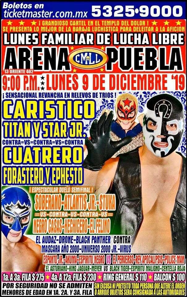 Lucha Libre CMLL desde la Arena Puebla en Vivo - Lunes 9 de Diciembre del 2019