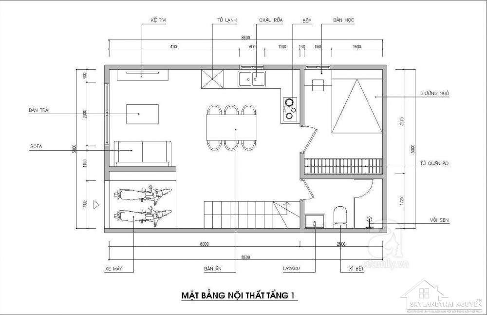 Tư vấn thiết kế nhà ống hai mặt tiền trên khu đất 43 m2