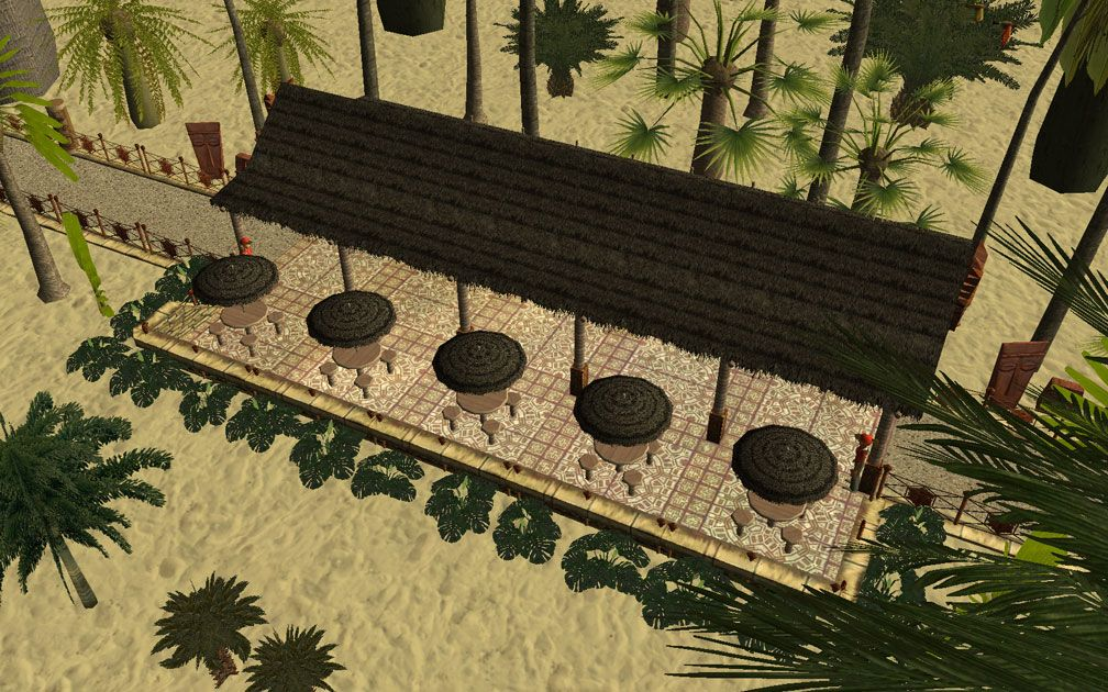 Showcase! Winter 2017 - Mr. Sion's Tiki Bar - Image 16: Assembled Tiki Bar, Aerial View Showing Arrangement of Tables