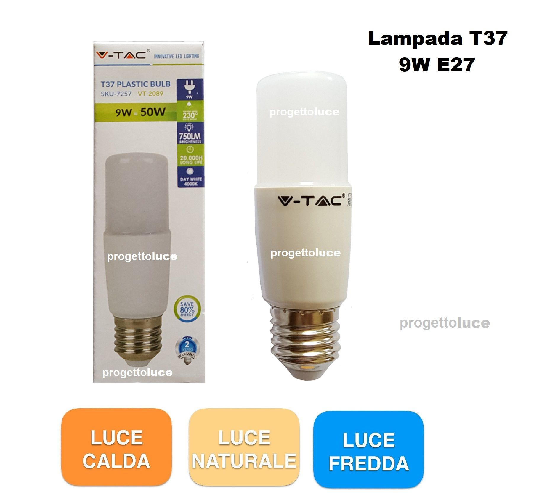 V tac lampada lampadina led e27 candela tubolare bulb 9w for Lampada tubolare led