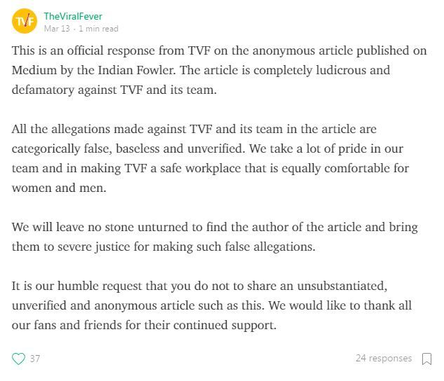 sample response letter to false accusations tvf s arunabh kumar accused of molestation all statements 24693