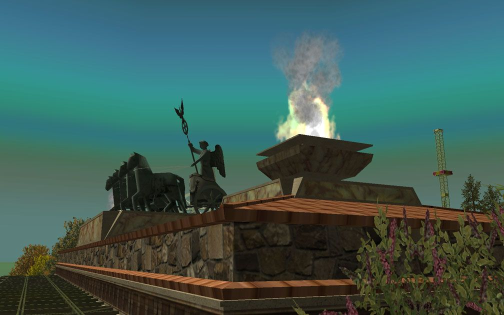 My Projects - CSO's I Have Imported, Landscaping and Park Grounds - Screenshot of Quadriga and Flaming Urns Atop Pool Changing Rooms/Pool Amenities Building, Close-Up, Image 10