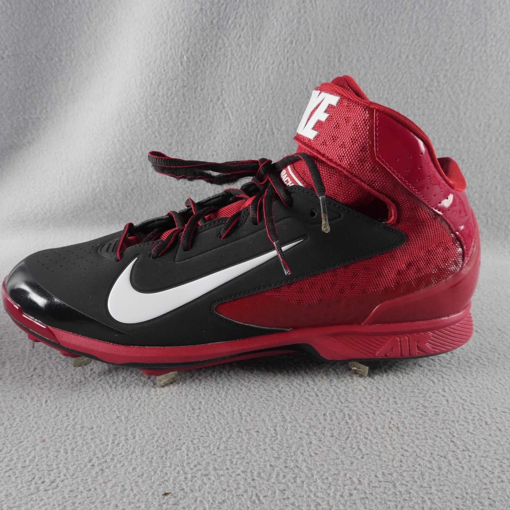 77d9a9672103 NIKE 599235 016 Men s Huarache Baseball Cleats Black Red White SIZE ...