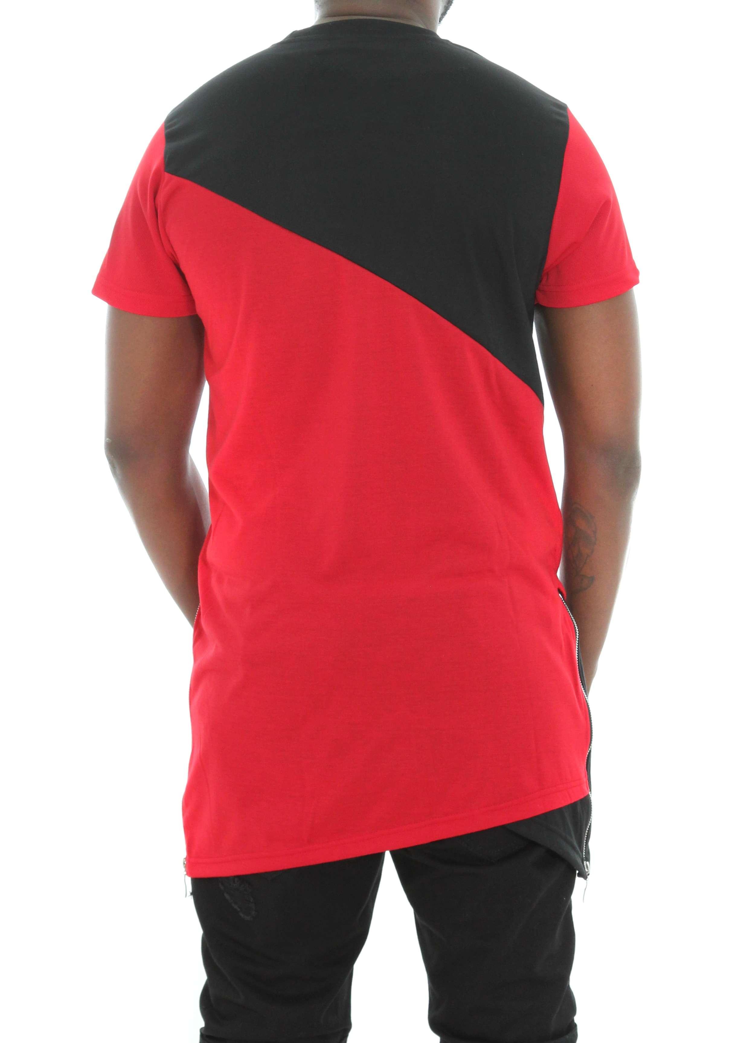 Imperious-Men-039-s-Colorblock-Asymmetric-Hem-Side-Zipper-Longline-T-Shirt thumbnail 12