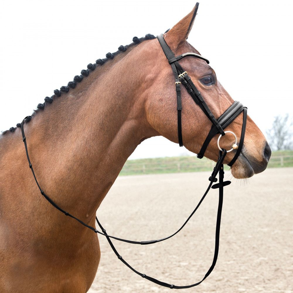 Horze-Crescendo-Lester-Snaffle-Bridle-with-U-Shaped-Browband-and-Anti-Slip-Reins miniature 9