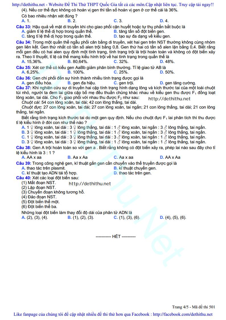 De thi thu mon Sinh Hoc 2017 so GD & DT Bac Ninh trang 4