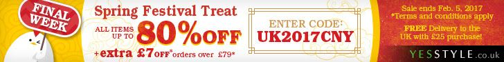 FINAL Week of Spring Festival Sale Up to 80% off + EXTRA GBP7 OFF