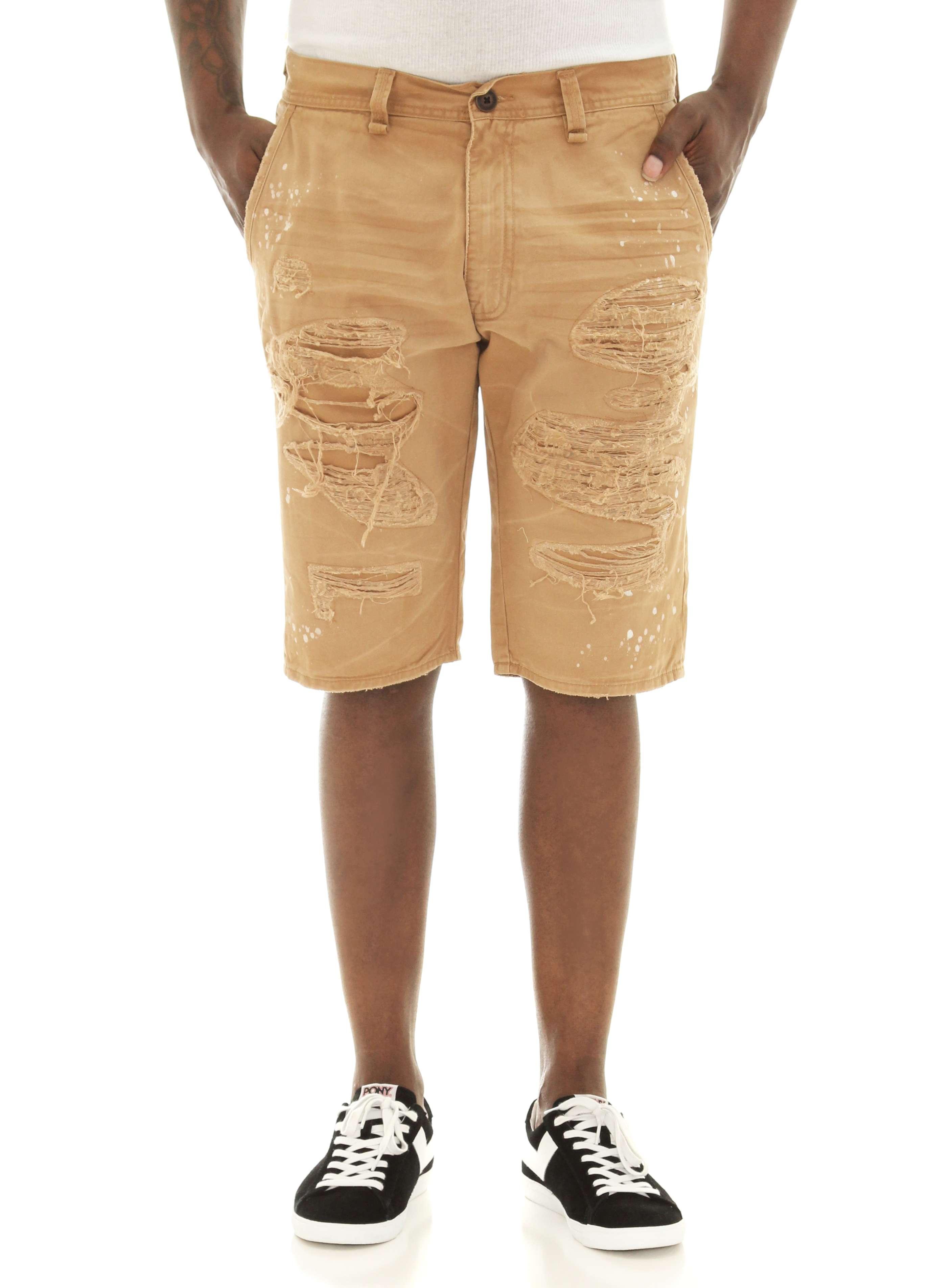 b29ba7b2bb Jordan Craig Men's Flat Front Ripped & Splatter Twill Shorts | eBay