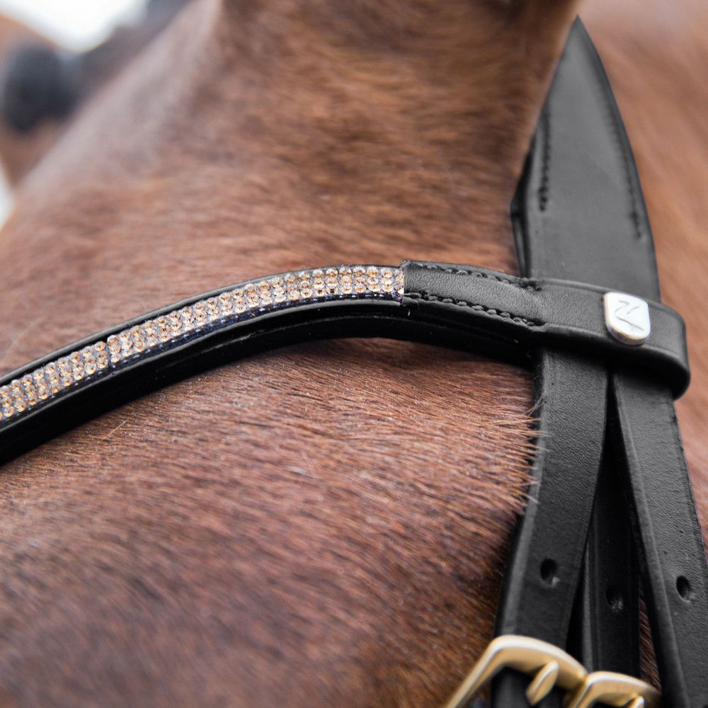 Horze-Crescendo-Lester-Snaffle-Bridle-with-U-Shaped-Browband-and-Anti-Slip-Reins miniature 10