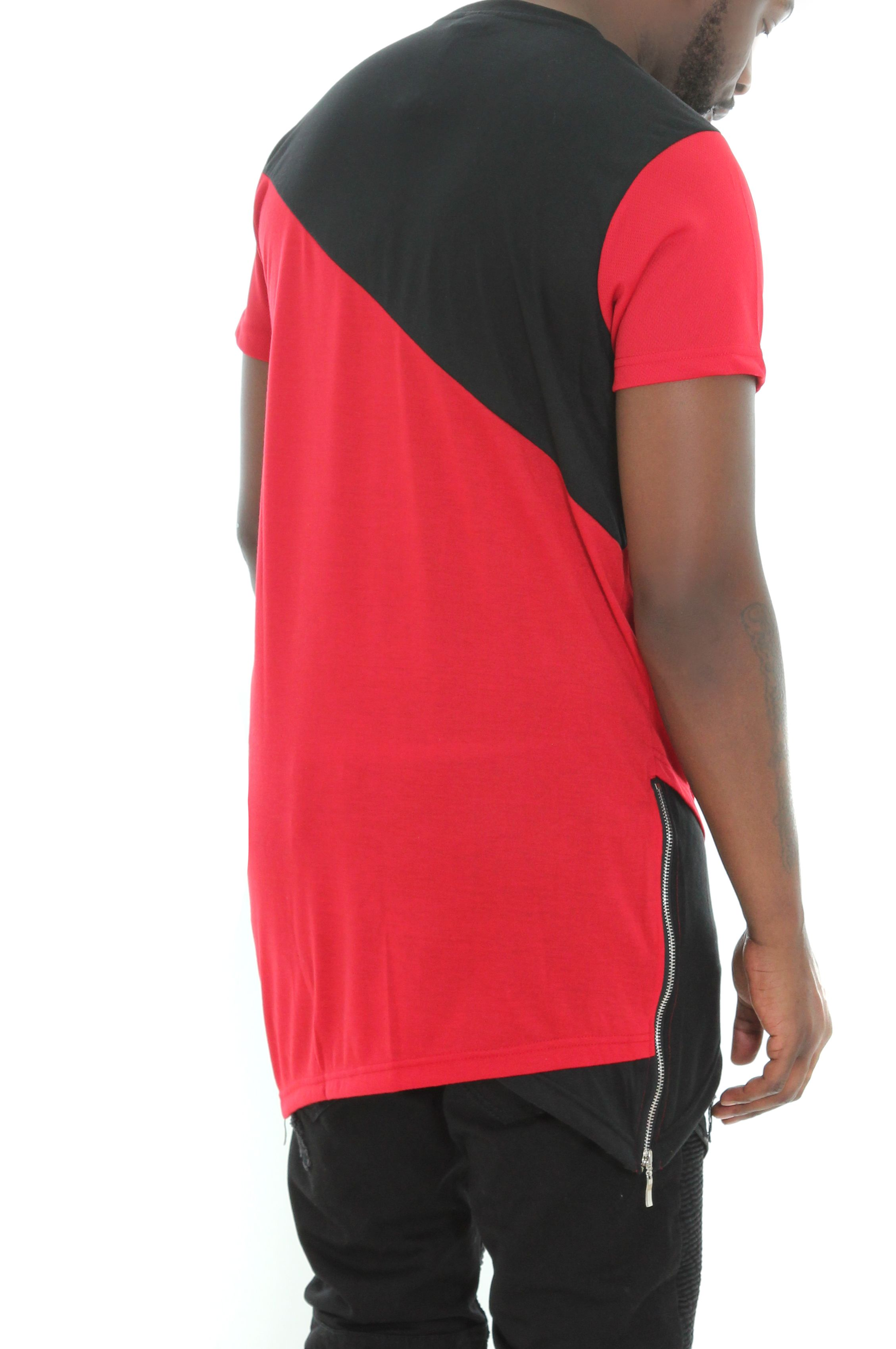 Imperious-Men-039-s-Colorblock-Asymmetric-Hem-Side-Zipper-Longline-T-Shirt thumbnail 10