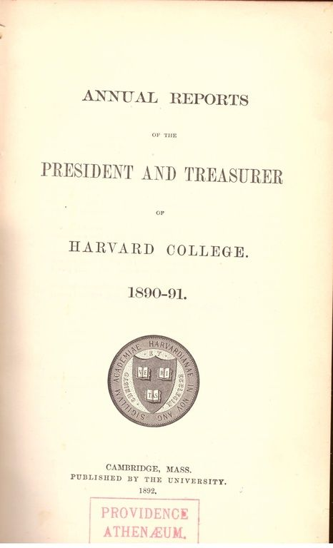 1890 and 1891 Annual Reports of the President and Treasurer of Harvard College, Treasurer