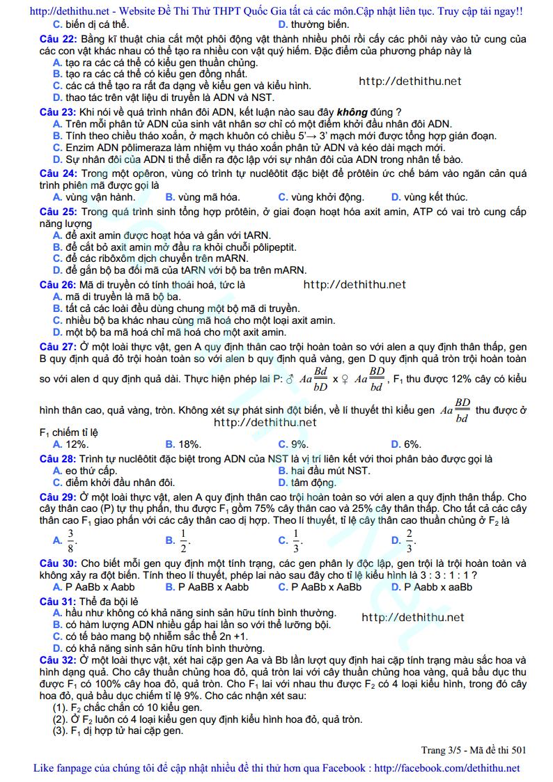 De thi thu mon Sinh Hoc 2017 so GD & DT Bac Ninh trang 3