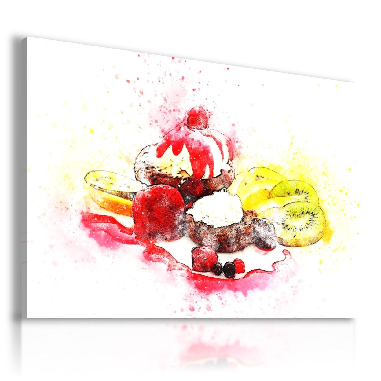 PAINTING DRAWING DESSERT ICE CREAMS PRINT Canvas Wall Art Picture R60 MATAGA