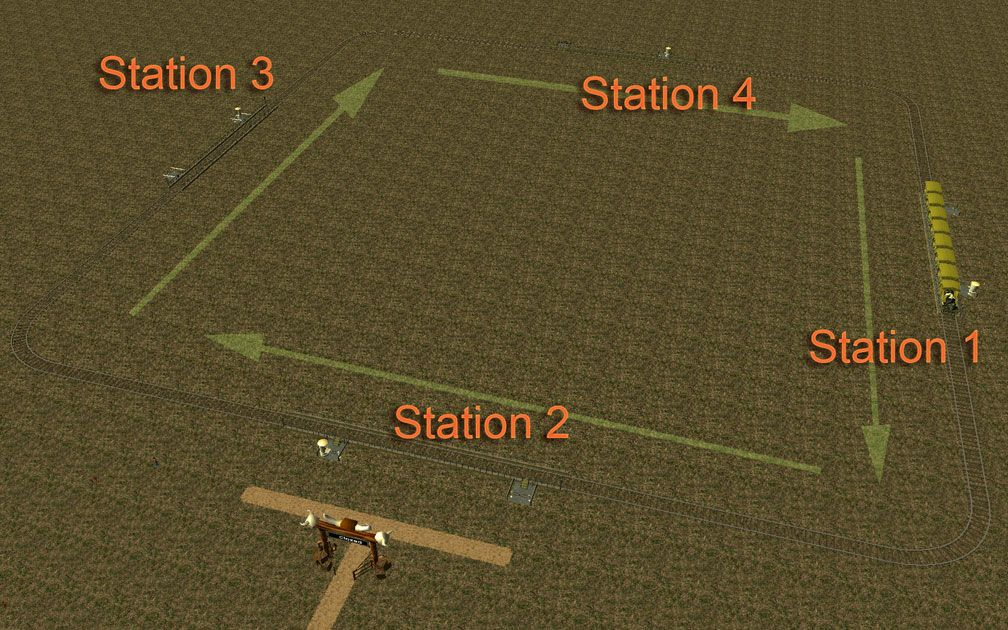 Image 09, Park Shuttle Configurations - Arrows Showing Reverse Direction of Travel With Numbered Stations