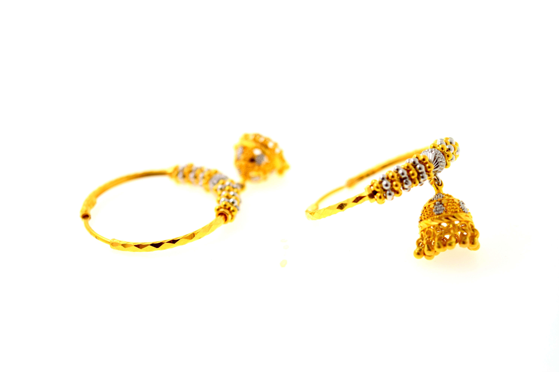 22k 22ct Solid Gold Elegant Las Large Hoops Earrings Simple Design E5915 Ebay