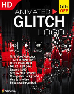 Animated Glitch Text - Logo -Image  Photoshop Template - 8