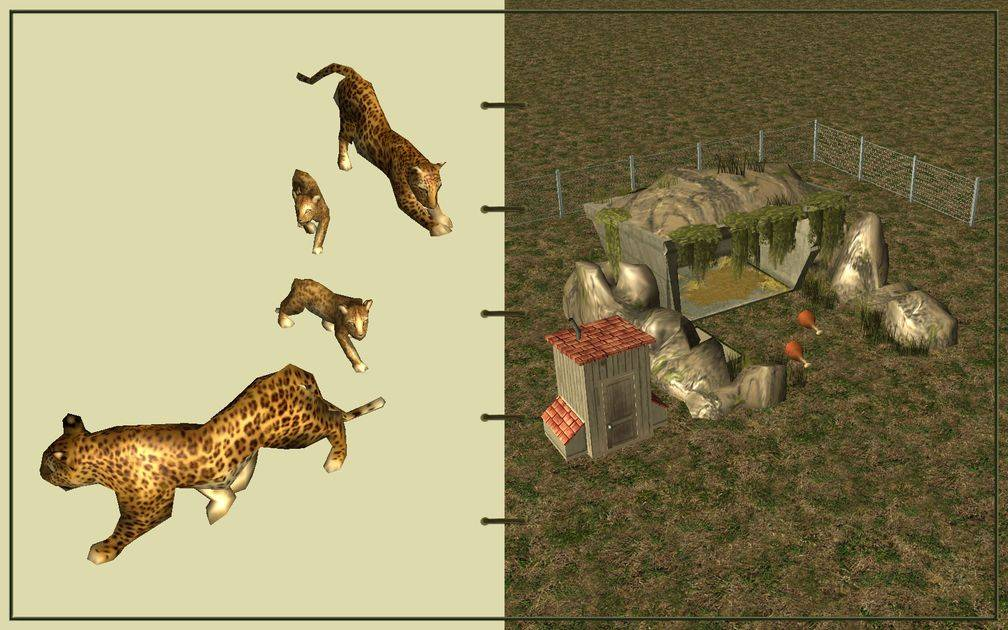 Image 11, RCT3 FAQ, Volitionist's RCT3 Animal Care Guide, Page 3: Leopards And Carnivore House With Chain Fence