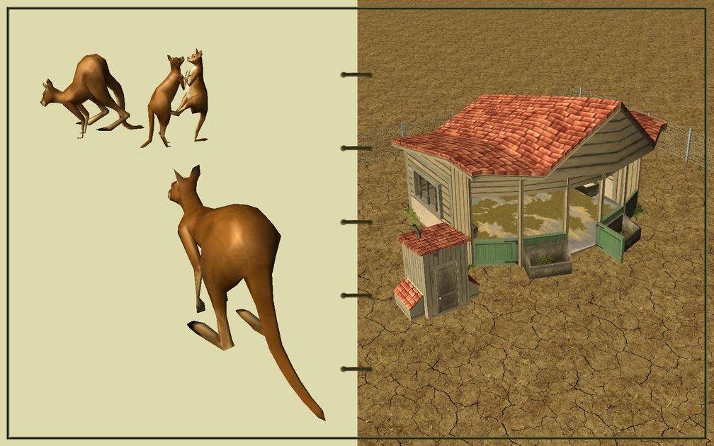 Image 10, RCT3 FAQ, Volitionist's RCT3 Animal Care Guide, Page 2: Kangaroos And Small Herbivore House With Chain Fence
