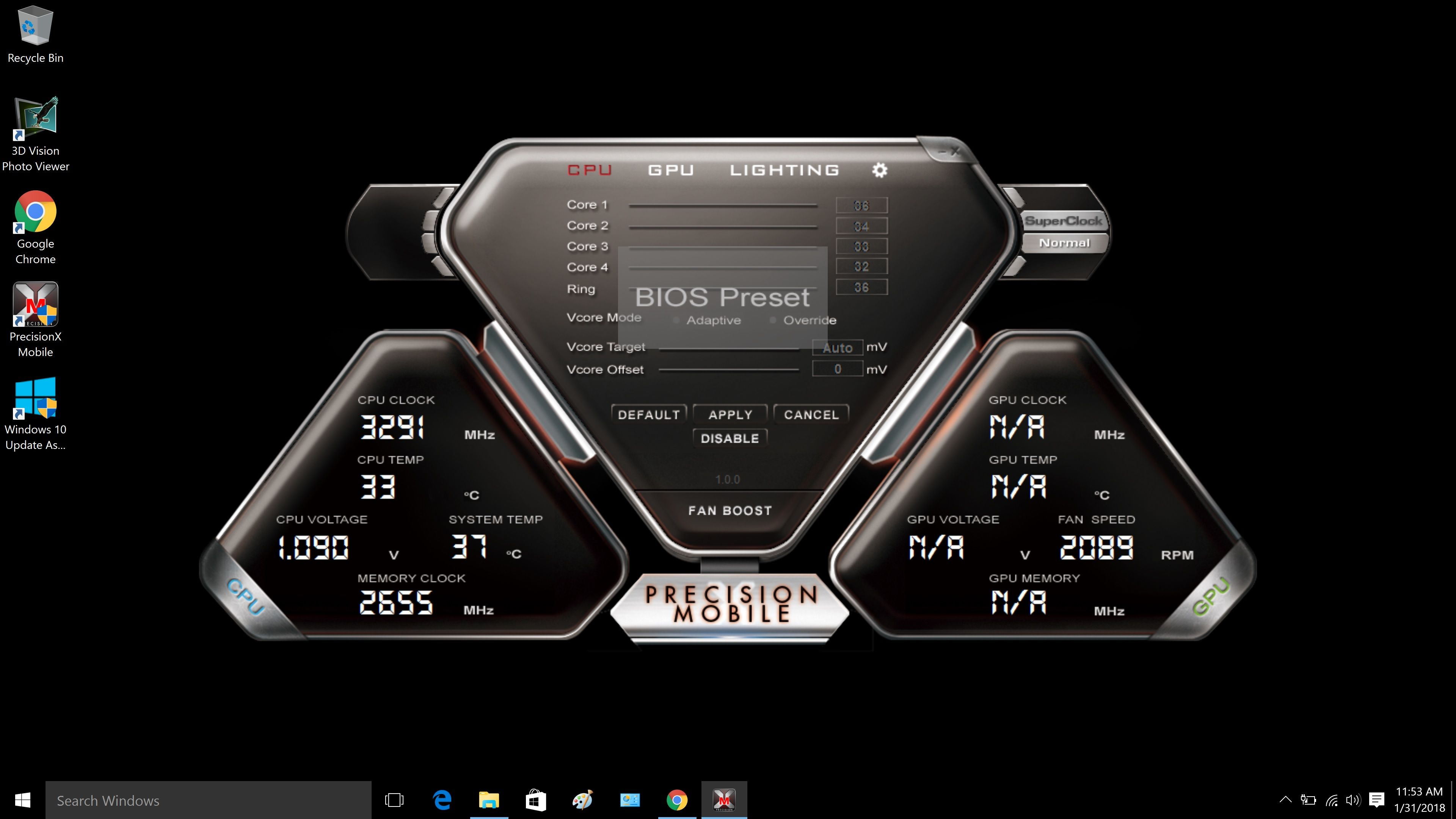 Is this normal? gpu clock,temp,voltage showing is NA