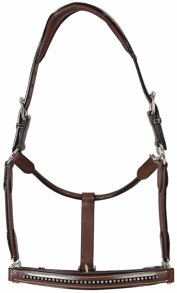 Henri de Rivel Padded Crystal Leather Halter Patent Piping and Rolled Throat