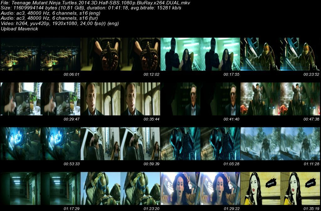 Ninja Kaplumbağalar - 2014 3D BluRay 1080p Half-SBS DuaL MKV indir