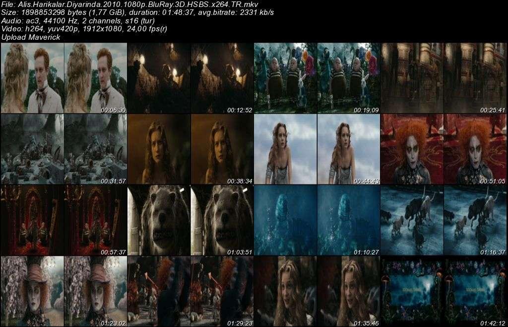 Alis Harikalar Diyarında - 2010 3D BluRay m1080p H-SBS Türkçe Dublaj MKV indir