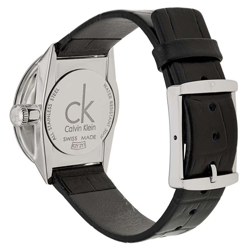 Dettagli su CK Donna Calvin Klein Orologio Slim Woman Uhr Accent K2Y2Y1C3 Pelle Nero Black
