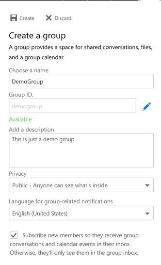 Create an Office Group
