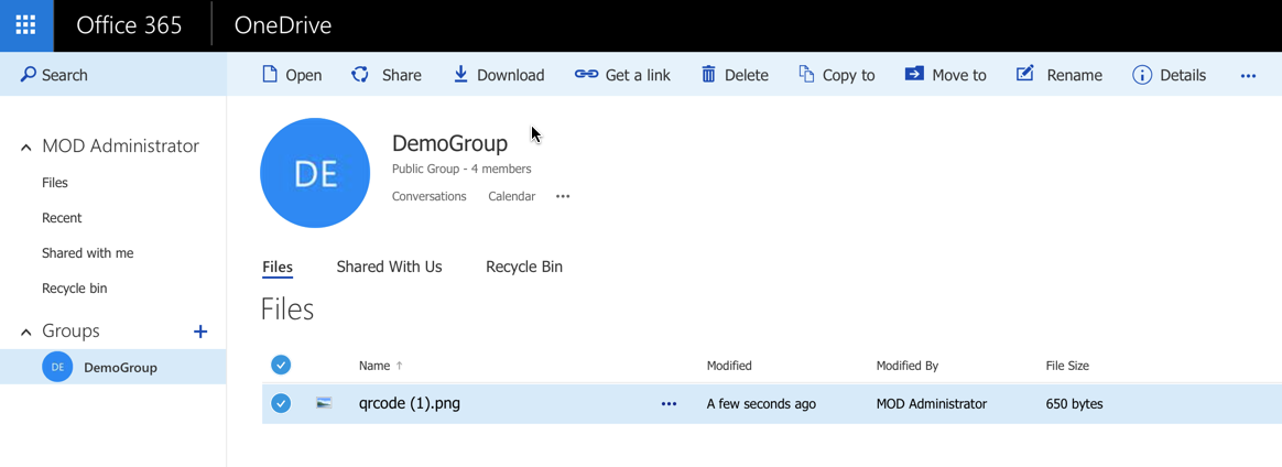 Office Groups Documents Inbox