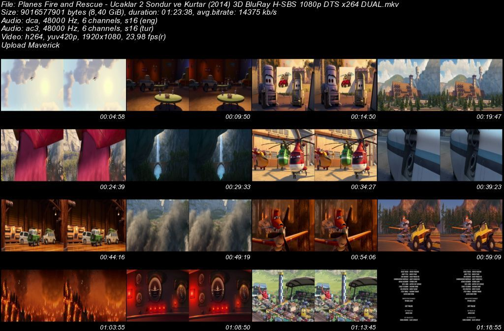 Uçaklar 2: Söndür ve Kurtar - 2014 3D BluRay 1080p H-SBS DuaL MKV Teklink indir
