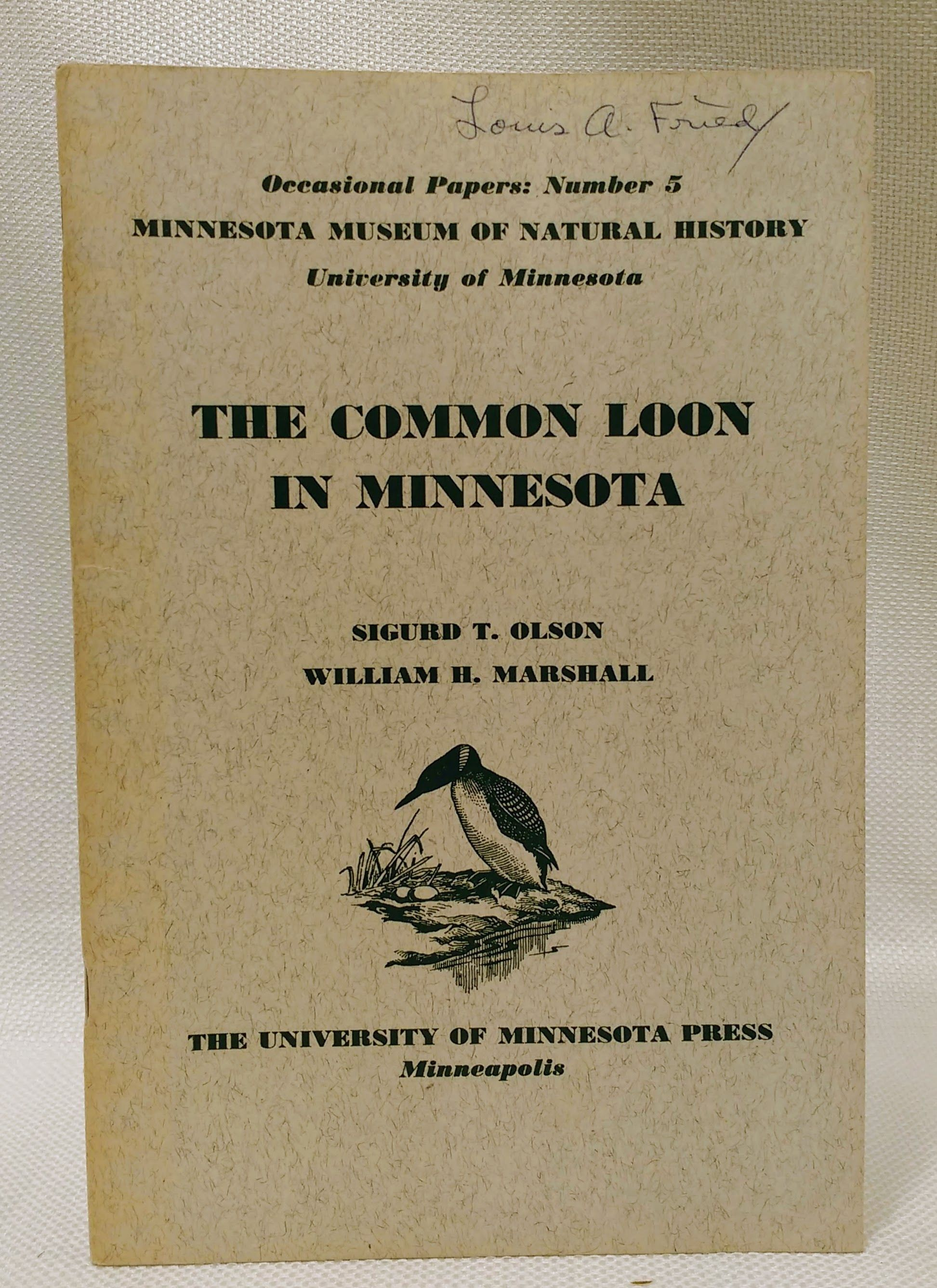 The Common Loon in Minnesota (Occasional Papers, Number 5), Olson, Sigurd T.; Marshall, William H.