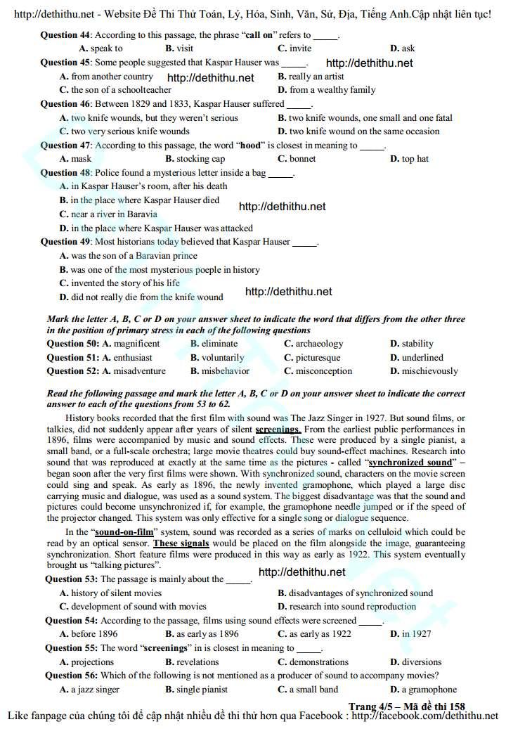 Đề thi thử tiếng Anh 2016 THPT Đa Phúc   Hà Nội lần 3