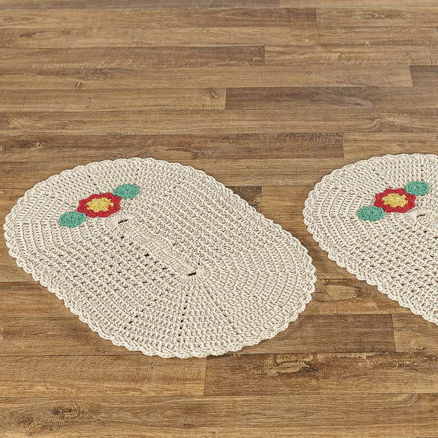 Tapete de Crochê Bella detalhe de Flor Delicada 2 Peças