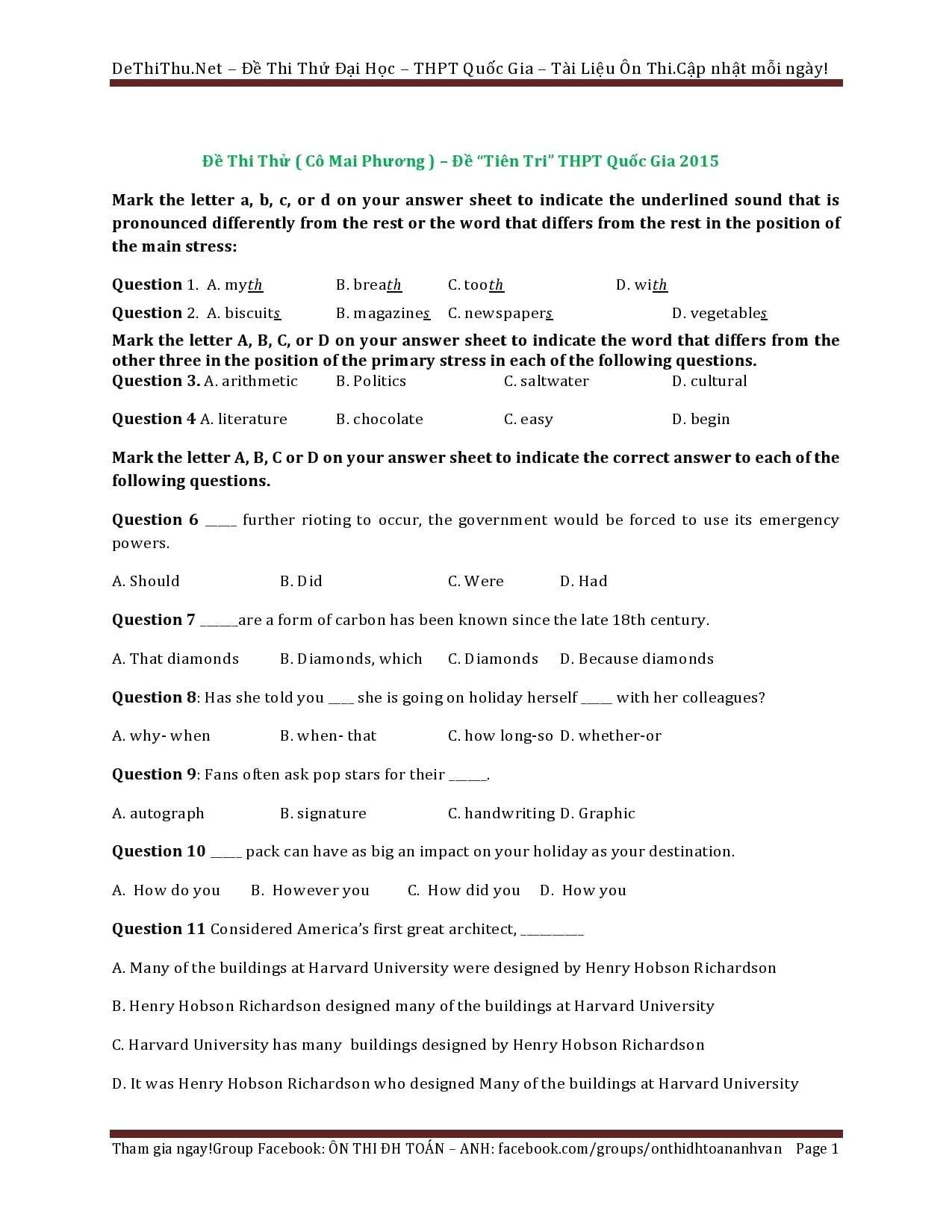 Đề thi thử và Key Tiếng Anh THPT Quốc Gia 2015 Cô Mai Phương ( Đề tiên tri )