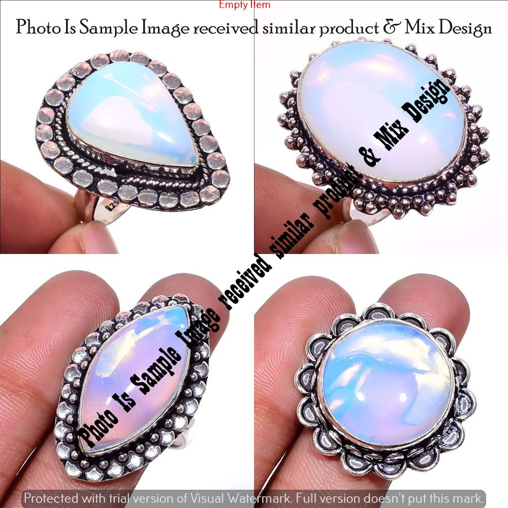 White Opalite Handmade Jewellry 925 Sterling Silver Plated 4 Grams Ring Size 7.5 US Designer Sizable