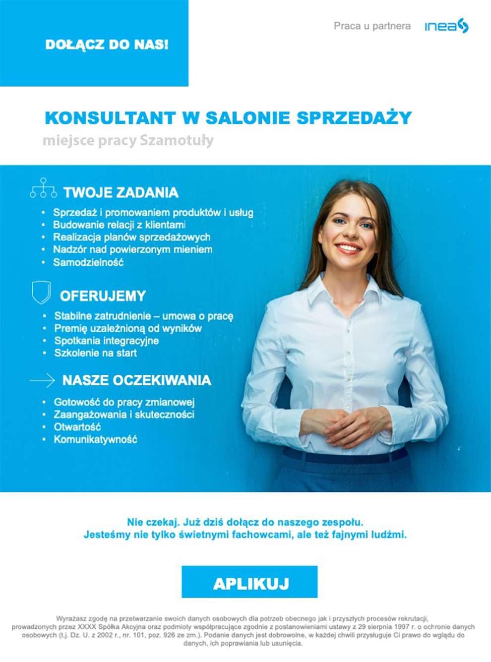 Praca dla konsultanta wSalonie Sprzedaży INEA