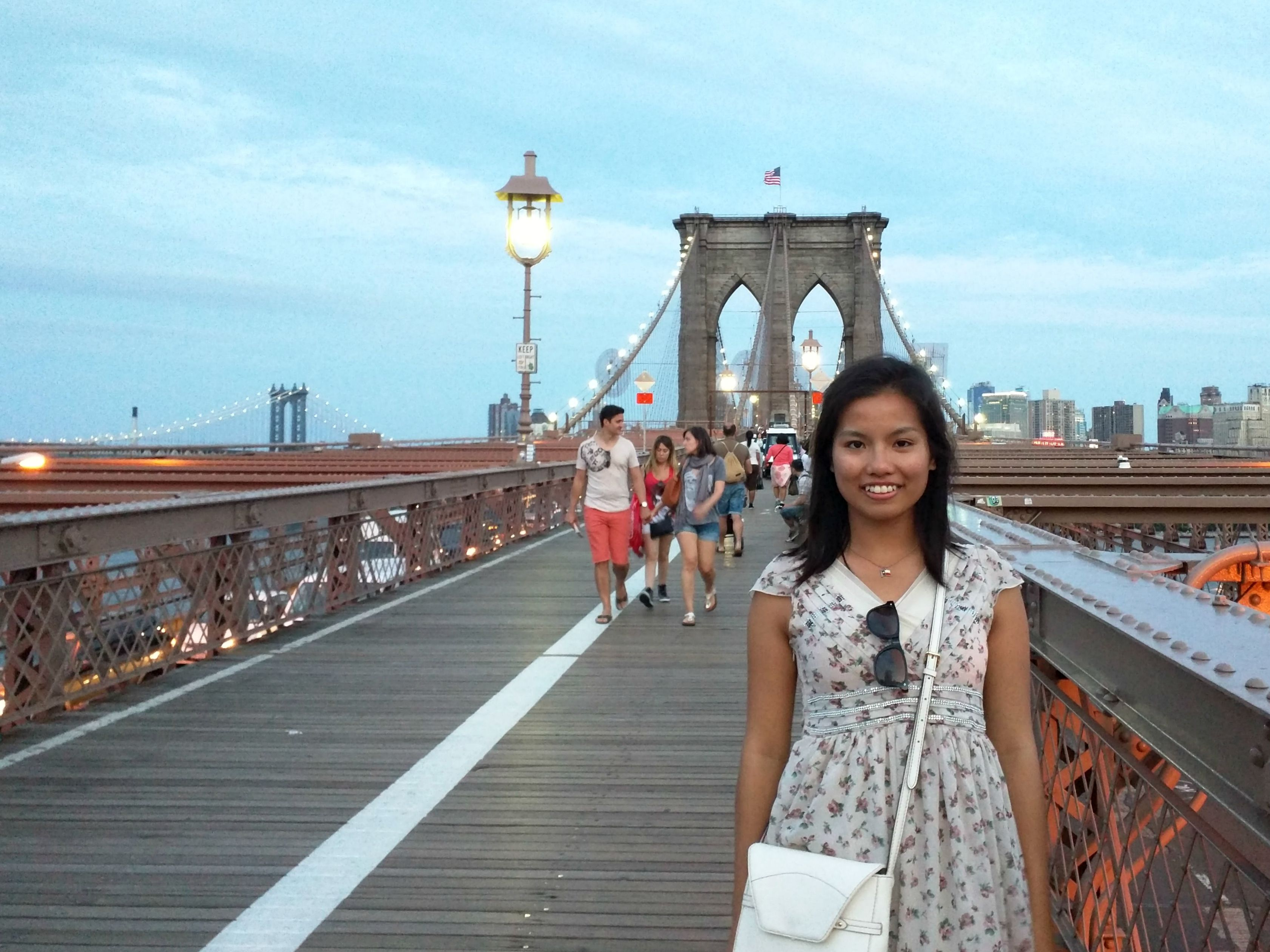Walking across Brooklyn Bridge