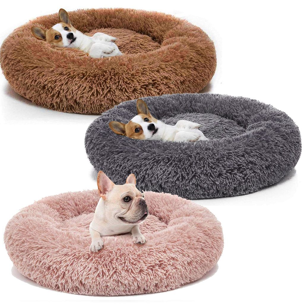 Pet Dog Cat Calming Bed Warm Soft Plush Round Cute Nest Comfortable Sleeping New