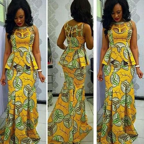 Yellow ,lace and Ankara dress