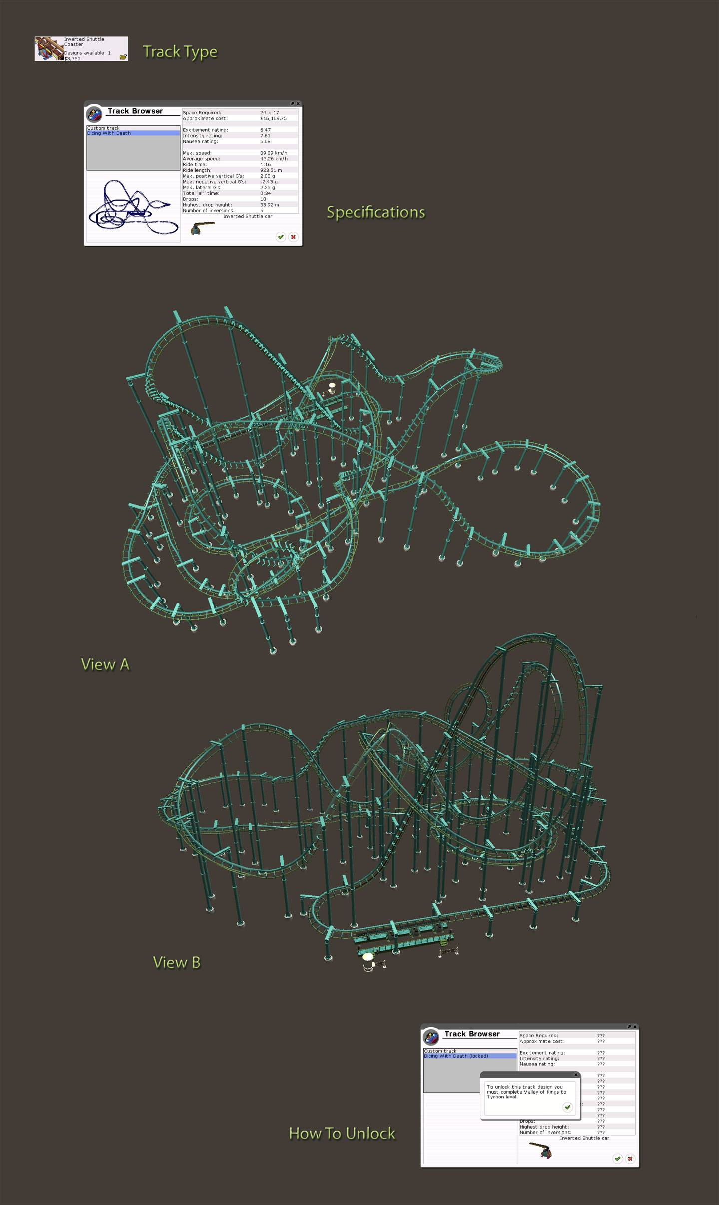 Locked Coaster Details Image for FlightToAtlantis.net: RCT3 FAQ: Campaign Scenario Directory Specifics: Valley Of Kings