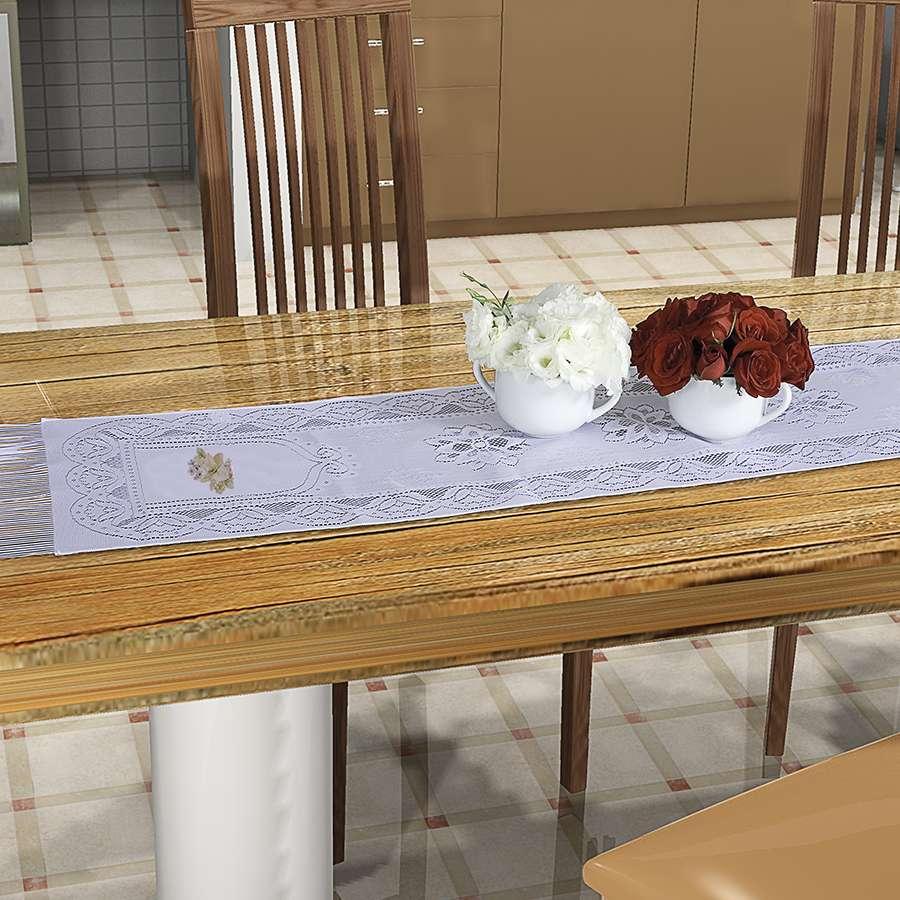 Trilho de Mesa Suzi de Renda 1,50m x 40cm Transfer Floral